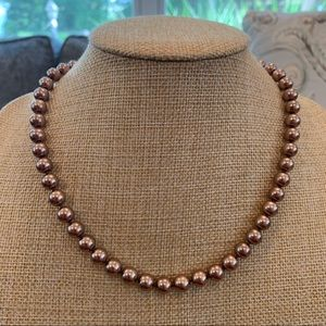 Kissaka    Rose Gold Simulated Pearl Necklace